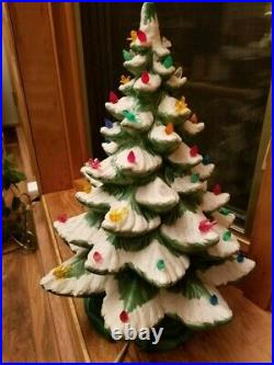 Vintage (1960's or 70's) Ceramic Light Up Christmas Tree 21 (Inches) Tall