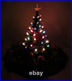 Vintage 1978 Nowell's Mold Ceramic Light Up Christmas Tree Skirt Cover Figures