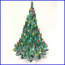 Vintage 19 Ceramic Green Volcano Lava Christmas Tree Multi Color Plastic Lights