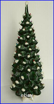 Vintage 32 Tall Atlantic Mold Ceramic Snow Flocked Green Lighted Christmas Tree