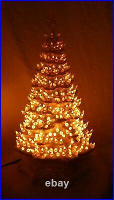 Vintage 513 Lights 5 Flashing Colors Iridescent White 22 Ceramic Christmas Tree