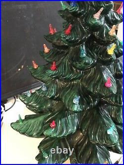 Vintage Atlantic Mold CERAMIC CHRISTMAS TREE Multi-Color Lights Large 24