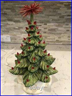 Vintage Atlantic Mold Ceramic Christmas Tree 13 Tall with Red Lights withBase