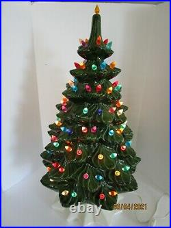 Vintage Atlantic Mold Ceramic Lighted Christmas Tree 21 Tall 1970's WITH BASEE