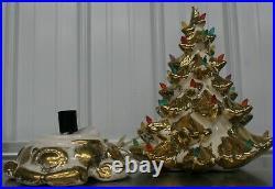 Vintage Atlantic Mold Ceramic Lighted Christmas Tree White Gold Flocked