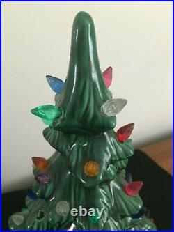 Vintage Ceramic 19 Lighted Christmas Tree with Music Box Adeste Fideles