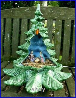 Vintage Ceramic Christmas Tree Atlantic Mold Nativity Set Inside- Light