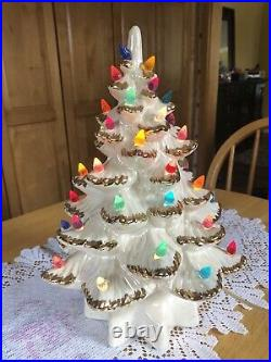 Vintage Ceramic Christmas Tree White W Gold, Colorful Lights Beautiful