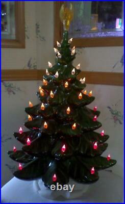 Vintage Ceramic Christmas Tree w Lights, Base, Musical 22 + Atlantic/Nowells