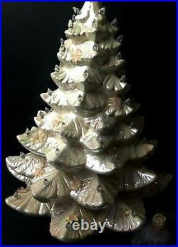 Vintage Ceramic Light Up Christmas Tree 25 White Mother of Pearl Albertas Molds