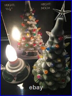 Vintage Ceramic Light Up Xmas Christmas Tree Lamp Pottery Holly Base. BOXED