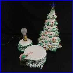 Vintage Ceramic Lighted Christmas Tree 18.5 Bourbon Whiskey Decanter Music Box
