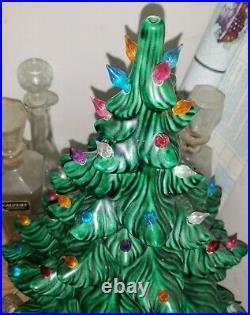 Vintage Ceramic Lighted Green Christmas Tree 20 Inch Tall Light Up Atlantic Mold