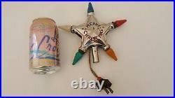 Vintage Chrome Light Up Star Tree Topper Merry Christmas Works