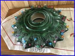 Vintage Cramer Mold Ceramic Christmas Tree 25 with Base & Star 100 plus lights