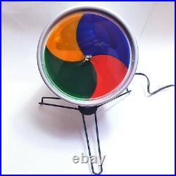 Vintage Glass Color Wheel Aluminum Lamp Christmas Tree Rotating Mid-century Mod