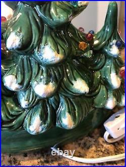Vintage Holland Mold Lighted Ceramic Christmas Tree Candy Dish/Bowl. Decor Rare