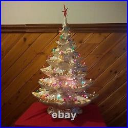 Vintage LG WHITE & Gold Pin Hole Ceramic Lighted Christmas Tree Decorative 26