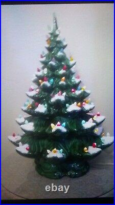 Vintage Large Ceramic Christmas Tree 22 Flocked Lighted Atlantic Mold withBase