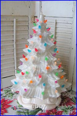 Vintage Light Blue White DHM Mold Ceramic Lighted Christmas Tree 17.5