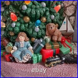 Vintage Lighted Ceramic Christmas Tree Santa Fireplace Scene LARGE 20x20 OOAK
