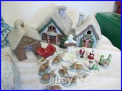 Vintage Lighted Large Ceramic Village Christmas Houses Trees Figures Scioto