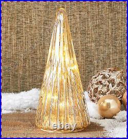 Vintage Look LED Lighted Mercury Glass Christmas Tree Tabletop Centerpiece Decor