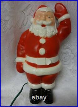 Vintage Metal & Plastic Santa Figure Lights Up Christmas Tree Topper Wall Decor