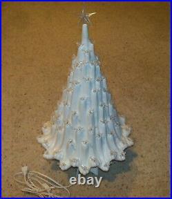 Vintage Volcano Lava Light Up Ceramic Christmas Tree, Doves, 22 Tall with Star