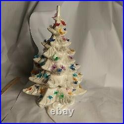 Vintage White 18 Atlantic Mold Lighted Ceramic Christmas Tree birds butterflys