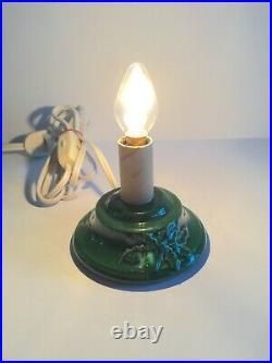 Vtg 70s Nowell's Mold Ceramic Xmas Tree TV Night Light Desk Table Lamp 10 Small
