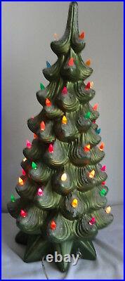 Vtg Art Deco Atlantic Mold Ceramic Christmas Tree Snow Light Up w Music Box 24