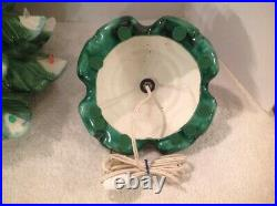 Vtg Atlantic Mold 25 Snow Cap Lighted Ceramic Christmas Tree Scroll Base Angel
