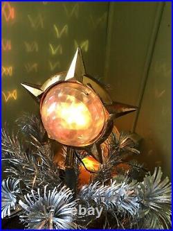 Vtg Bradford Celestial Star Rotating Light Tree Topper Atomic Christmas Works