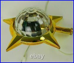 Vtg Bradford Celestial Star Rotating Light Tree Topper Atomic Christmas Works B