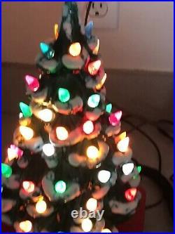Vtg Ceramic Small Light Up Christmas Tree PACKED Light Lamp Decoration 12