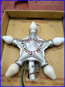 Vtg. NOMA Star of Bethlehem GE C-7 or C-9 Tree Topper Light Orig. Box