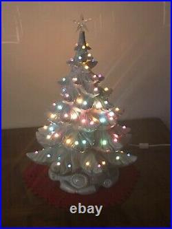 Vtg Rare Light Blue 1974 Atlantic Mold Ceramic Christmas 21 Tree Base Lights