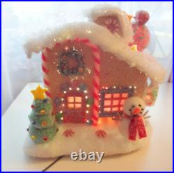Vtg Rare Light Up Holiday Gingerbread Cookie Christmas Tree House Village Valley